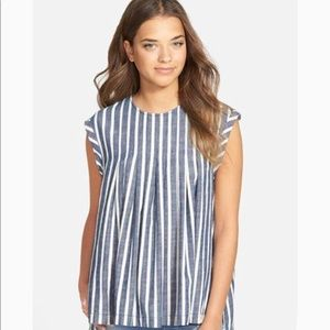 Madewell blue and white striped top
